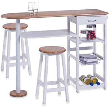 Spetebo Rollbare Kitchen Bar With Folding Table And Two