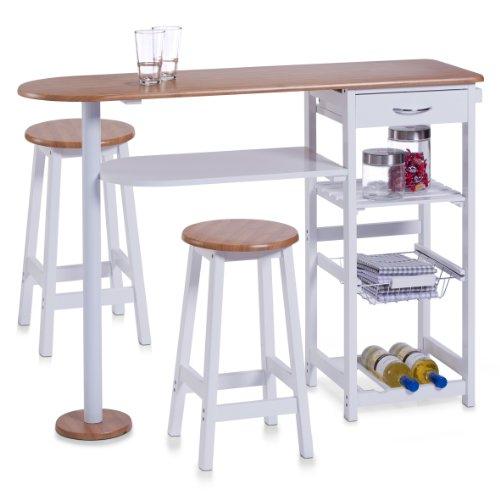 Zeller 13776 - Banco cucina con 2 sgabelli, in masonite a densità media (MDF), dimensioni tavolo: 118 x 38 x 89 cm (LxPxA), dimensioni sgabello: 29 x 29 x 54 cm (LxPxA), con decorazione in bambù, colore: Bianco