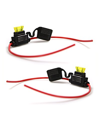 com-four® Sicherungshalter für KFZ LKW Flachsicherung wasserdicht 12V 24V (2er Set - inkl. 20A Sicherung - 34 cm) 24 Volt 20 Amp