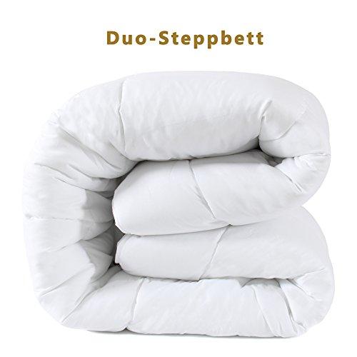 DUCK & GOOSE Hochwertige Duo-Steppbett Warme Winterdecke Bettdecke Steppdecke Microfaser 155x220