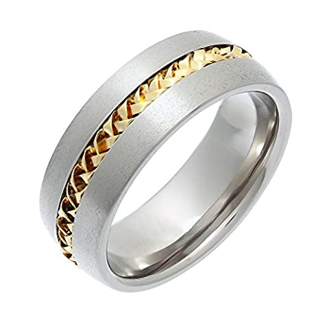 Theia Titanium with 9ct Yellow Gold Twisted Inlay Flat Court Shape 8mm Ring - Size S