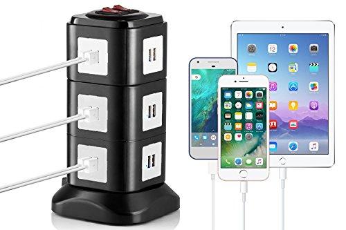 MutecPower Estación de carga USB universal de 24 puertos para iPhone de Apple, dispositivos Android y otros dispositivos compatibles con USB. Cargador USB electrónica con base magnética y cables de alimentación extraíbles para Reino Unido y la UE