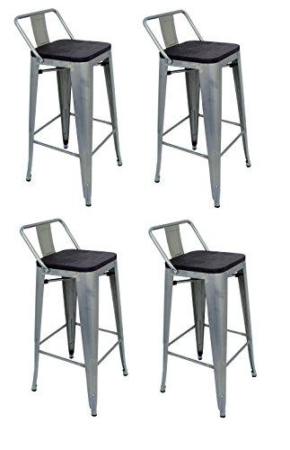 La Silla Española - Pack 4 Taburetes estilo Tolix con respaldo y asiento acabado en madera. Color Gris Industrial. Medidas 95x43x43