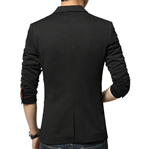 Vividda Mince et elegant Fit Sexy Costume Homme Affaires Blazer Un Bouton Veste Manteau Noir