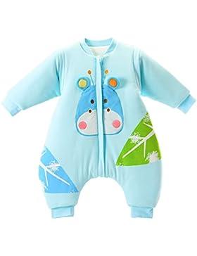 baby Schlafsack langarm winter kinder Schlafsack mit Füßen, Abnehmbare Ärmel,ganzjahres Baumwolle Junge Mädchen...