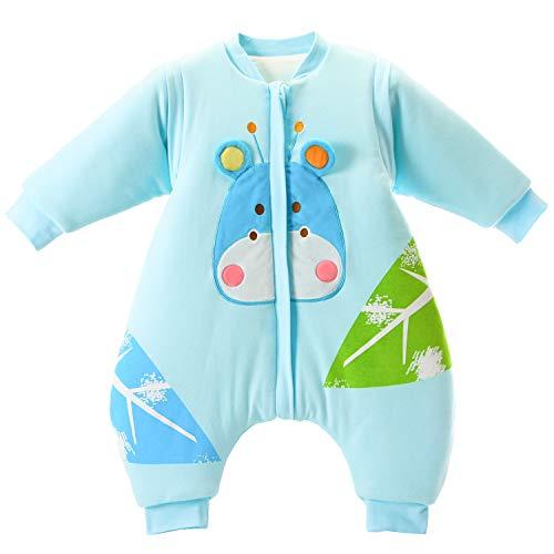 baby Schlafsack langarm winter kinder Schlafsack mit Füßen, Abnehmbare Ärmel,ganzjahres Baumwolle Junge Mädchen unisex Overall Schlafanzug 3.5tog, L Größe:100(2-3Jahre)