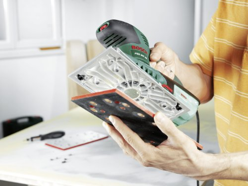 Bosch DIY Schwingschleifer PSS 300 AE, Schleifblatt P120, Bosch Microfilter, Koffer (250 W, Schwingzahl 14.000-24.000 min-1, Schleiffläche rechteckig 167 cm² (92 x 182 mm))