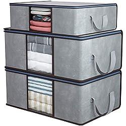DIMJ Lot de 3 Sac de Rangement Pliables, Rangement sous lit avec Fenêtre Transparent pour Couette Édredons Couvertures Oreillers Vêtements (Gris)