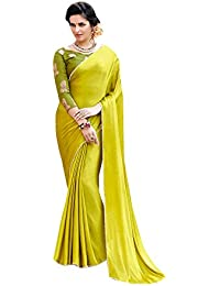 d5418cb5980df Aarrah Lime Green Satin Silk Lace Bordered Saree (SALONI1059SSSR01 Lime  Green)