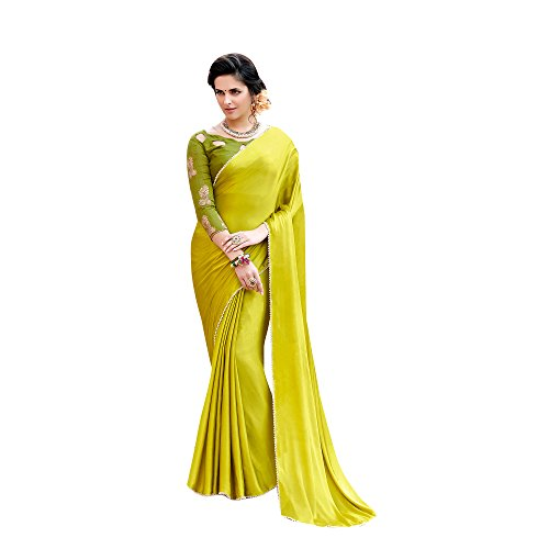 Shaily Retails Women's Lime Green Satin Silk Lace Bordered sarees (SALONI1059SSSR01_Lime Green)