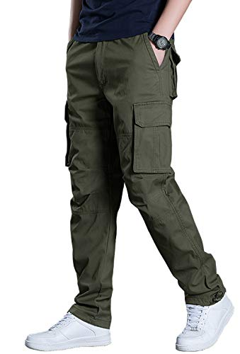 KEFITEVD Cargo Hose Herren Militär Taktisch Freizeithose Streetwear Alltag Mehrere Taschen Stoffhose Outdoorhose Gerade Beine Frühling Dunkeloliv 50/M (Etikett: XL) -