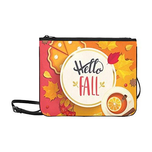 WYYWCY Hallo Herbst Schriftzug Gold Circle Frame benutzerdefinierte hochwertige Nylon dünne Clutch Cross Body Bag Schultertasche