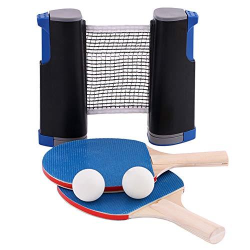 Lionina Set de Ping Ping Pongs Portátil Extensible para Viaje Doméstico con Red Retráctil 2 Pándales Deportivos 3 Pelotas ABS para Interior y Exterior, Als Bild, 31 x 26 x 7,5 cm