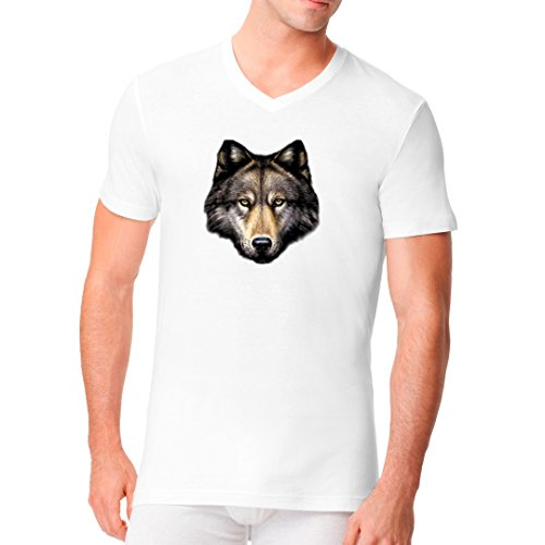 Fun Männer V-Neck Shirt - Wolf Head by Im-Shirt Weiß