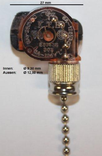 Einbau Zugschalter mit Kette Schnur Schnurschalter Ein Aus Schalter bis 250V 3A