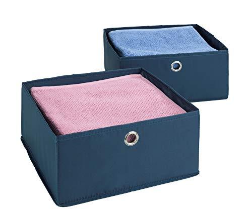 Wenko 64537100 Business Lot de 2 boîtes de Rangement pour tiroirs Bleu foncé 28 x 13 x 28 cm