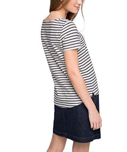 Esprit 026EE1K035 - T-shirt - À rayures - Manches courtes - Femme Écru (Sand 5)