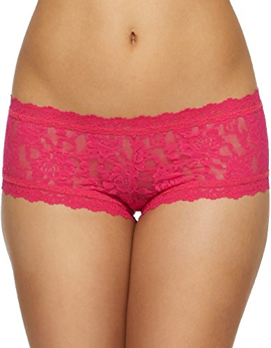 Hanky Panky Womens Rolled Signature Lace Boyshort In Bright Rose Size Large -