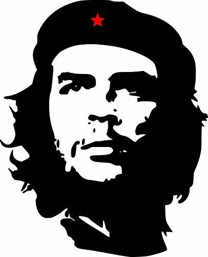 Etaia 6,5x8 cm - Auto Aufkleber Che Guevara roter Stern Revolution in Kuba Cuba Sticker Motorrad Handy Laptop Bike -
