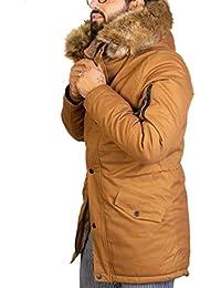 Antony Morale Giubbotto Parka Uomo Invernale (Verdone, Bordo', Nero, Senape) Interno di Pelliccia Cappuccio con Pelliccia Uomo 4 Colori