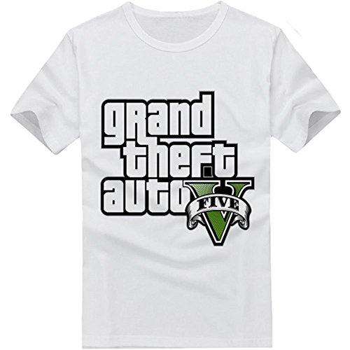 Xcoser GTA T-Shirt Black White Cotton Top Shirt for Men Women Summer Clothing