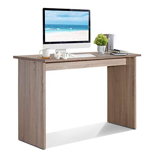 COSTWAY Schreibtisch Holz, Computertisch Arbeitstisch Bürotisch PC-Tisch Esstisch, 120x77x49cm braun