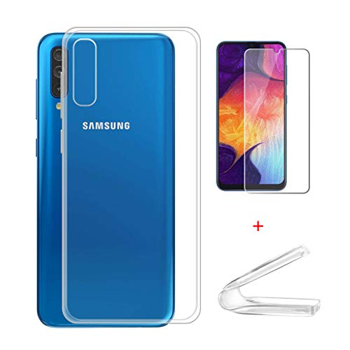 HYMY Cover per Samsung Galaxy A50 + 1 x Pellicola Protettiva - Morbida Trasparente Silicone Bumper Case TPU Protettivo Copertura Custodia + Vetro temperato per Samsung Galaxy A50 (6.4') -Clear