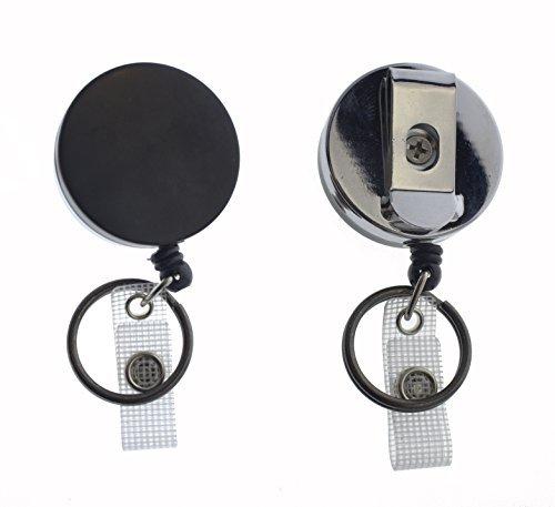 Specialist ID Strapazierfähige Ausweis- und Schlüsselhalter zum Ausziehen, Metallgehäuse, dicke Nylon-Kordel, Gürtel-Clip, verstärkter Riemen und Schlüsselring Schwarz  -