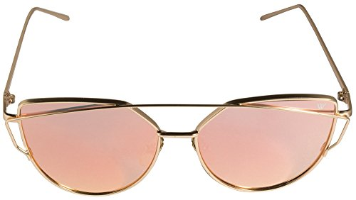 Cateye Sonnenbrille in rosa verspiegelt UV400 retro vintage Katzenaugen Mode Fahsion Metallrahmen Sunglasses classic - Whatever