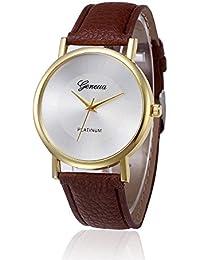 Kinlene mujer relojes barados diseño retro aleación banda de cuero analogico reloj de pulsera de cuarzo (Brown)