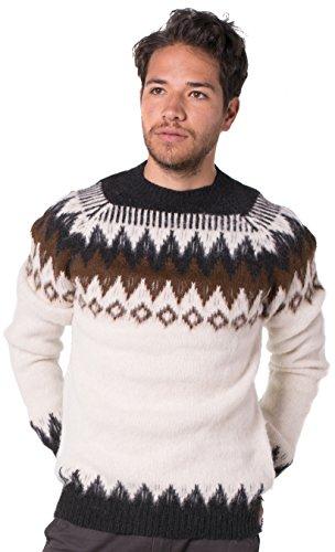 Gamboa - 100% Alpaka Dicker Pullover - Weiß mit Braunen Details (Strickjacke Braune Pullover)