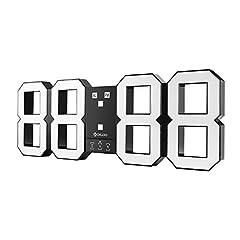 Idea Regalo - DIGOO DC-K3 Plus Orologio digitale da parete multifunzione LED 3D con funzione Snooze Display 12/24 ore, luminosità regolabile, bianco