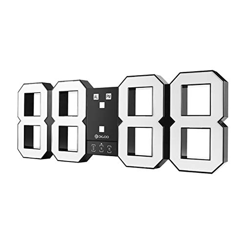 Digoo dc-k3 plus orologio digitale da parete multifunzione led 3d con funzione snooze display 12/24 ore, luminosità regolabile, bianco