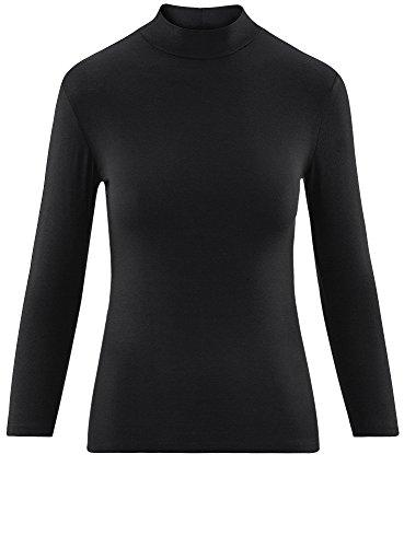 oodji Ultra Femme Sous-Pull Basique à Col Montant et Manche 3/4 Noir (2900N)