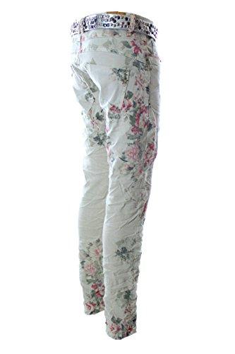 Designer Damen Jeans Buttons Zipper Jeans Knöpfe Skinny Baggy Flowers Pastell FLOWER BEIGE