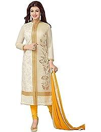 F For Fashion Women's Chanderi Cotton Yellow Salwar Suit Sets ( LCMF124 )
