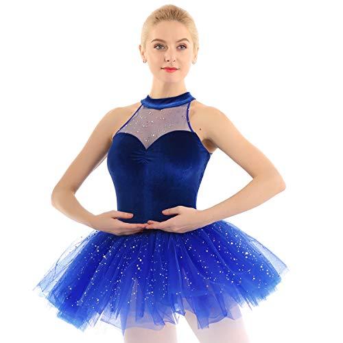 Freebily Damen Ballett Tutu Kleid Neckholder Glänzende Eislauf & Eiskunstlauf Kleid Pailletten Ballettkleid Samt Mieder Ballettanzug Tanz Body Trikot Blau Small -
