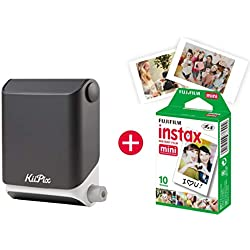 KiiPix - Imprimante Photo instantanée pour Smartphone - avec kit de démarrage Fujifilm Instax Mini - pour effectuer des Photos Style Polaroid Jet Black