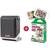 KiiPix Fotodrucker Jet Black   Smartphone kompatibler Sofort-Fotodrucker   mit Fujifilm Instax mini Starterpaket    Polaroid-Bilder