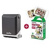 KiiPix Fotodrucker Jet Black | Smartphone kompatibler Sofort-Fotodrucker | mit Fujifilm Instax mini Starterpaket |  Polaroid-Bilder