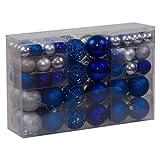 100-tlg. Set Weihnachtskugeln aus Kunststoff - Christbaumkugeln matt/glänzend Aqua/Silber