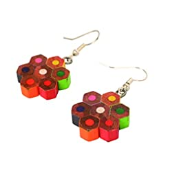 Earrings, recycled pencil crayon, handmade and Fair Trade, Shared Earth