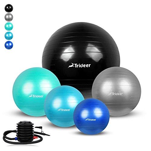 Trideer Weich Gymnastikball von 45cm 55cm 65cm 75cm inkl. Ballpumpe, Anti-Burst 700kg Maximalbelastbarkeit Sitzball Pezziball Swissball Fitnessball Yogaball im Gym-Home-Büro für Damen Herren (Ball Cm Fitness 45)