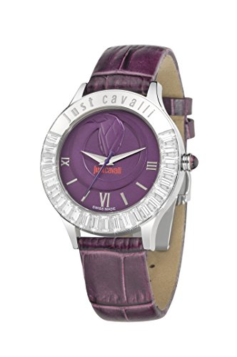 Just Cavalli Women's Quartz Watch with Purple Dial Analogue Display and Purple Leather Bracelet R7251597503