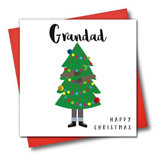 Tarjeta felicitación Navidad adornada texto inglés
