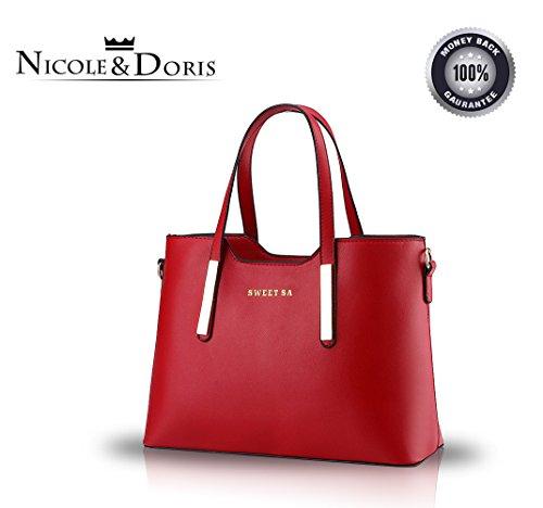 Nicole&Doris 2017 nuove donne stereotipi portafoglio borsa tracolla Messenger(Black) Red wine