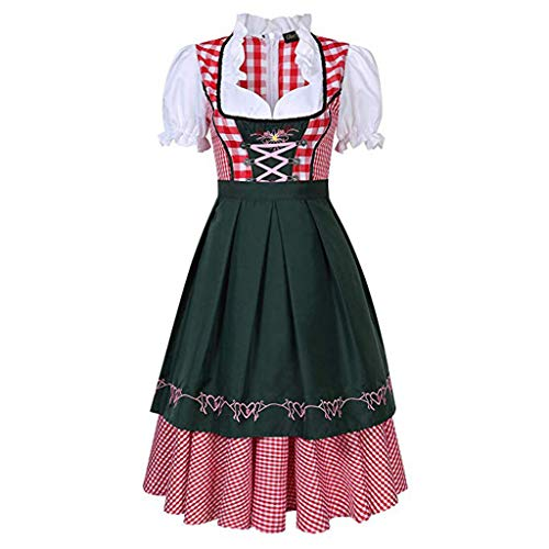 Vaccoo Womens Bierkostüm Oktoberfest Halloween Party Maid Plaid Fancy Dress Plus Size - 3X - ()