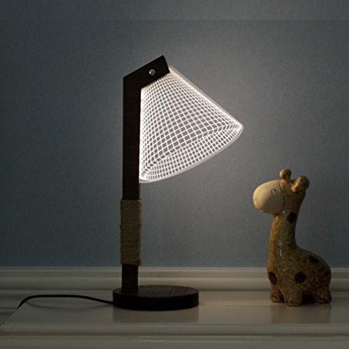 Stereoskopische visuelle kreative Lampe kreative Geschenk 3D Tischlampe Massivholz Nachtlicht LED Nachtlicht ( Style : F )
