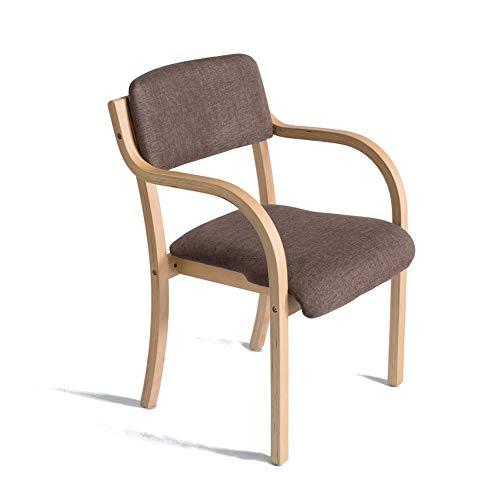 Bar Aus Holz Armlehne (YAN JUN Sessel aus Holz mit Armlehnen für Haus und Geschäft Brown's ESS- / Schmink- / Lernstuhl aus Stoff Küche/Esszimmerstuhl Größe: 53cm x 58cm x 83cm UU)