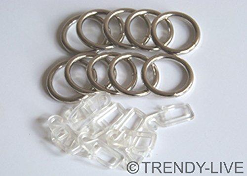 10 St. Gardinenringe m. Haken o. Klammern Ringe für Gardinenstangen 16 - 25 mm, Modell:C19-10 St. Ringe + Clips